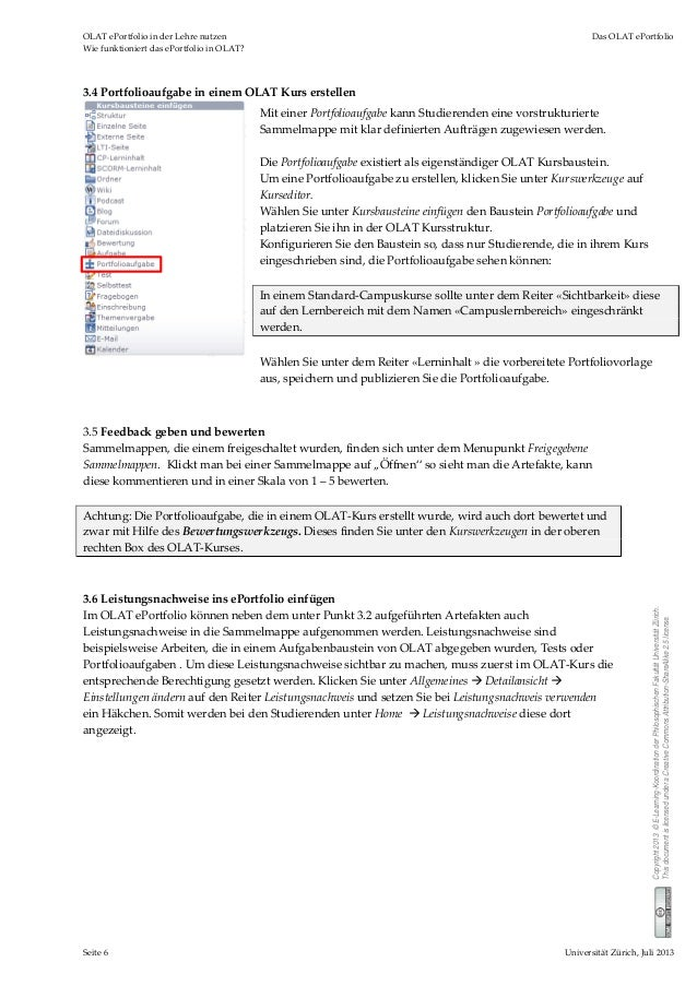 OLATePortfolioinderLehrenutzen DasOLATePortfolio WiefunktioniertdasePortfolioinOLAT? Seite6 UniversitätZ...