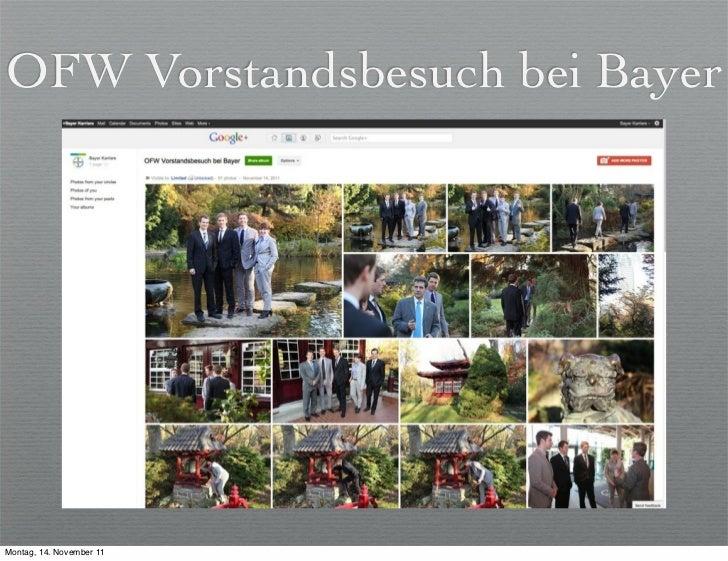 OFW Vorstandsbesuch bei Bayer                          der Universität LeverkusenMontag, 14. November 11