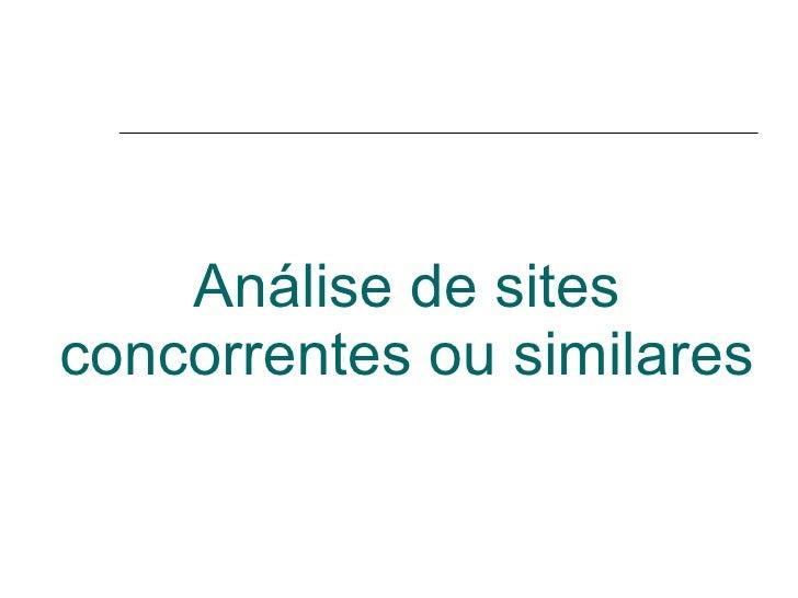 Análise de sites concorrentes ou similares