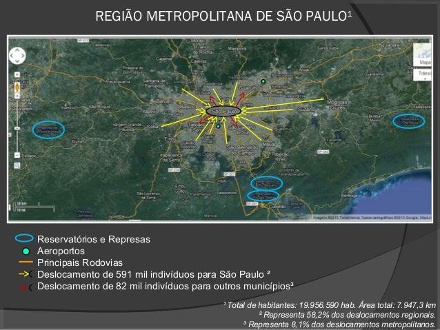 REGIÃO METROPOLITANA DE SÃO PAULO¹Reservatórios e RepresasAeroportosPrincipais RodoviasDeslocamento de 591 mil indivíduos ...