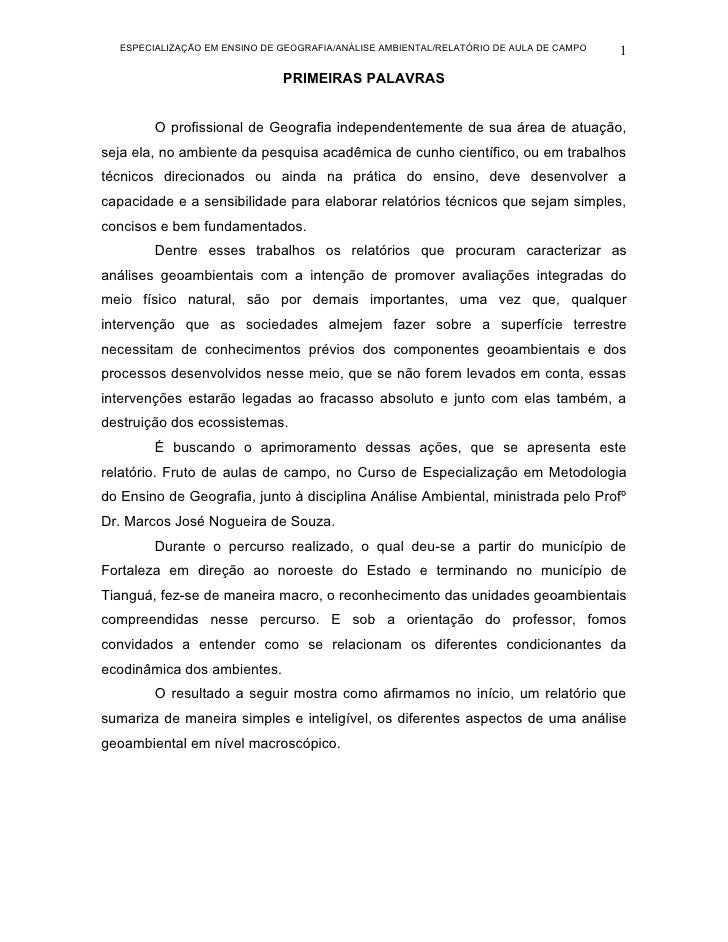 ESPECIALIZAÇÃO EM ENSINO DE GEOGRAFIA/ANÁLISE AMBIENTAL/RELATÓRIO DE AULA DE CAMPO   1                               PRIME...