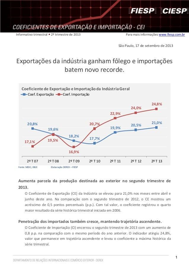1 Informativo trimestral  2º trimestre de 2013 Para mais informações www.fiesp.com.br São Paulo, 17 de setembro de 2013 E...