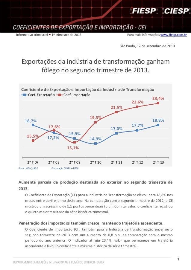 1 Informativo trimestral  1º trimestre de 2013 Para mais informações www.fiesp.com.br São Paulo, 17 de setembro de 2013 E...