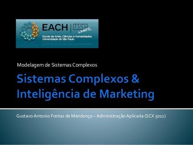 Modelagem de Sistemas Complexos Gustavo Antonio Freitas de Mendonça – Administração Aplicada (SCX 5011)