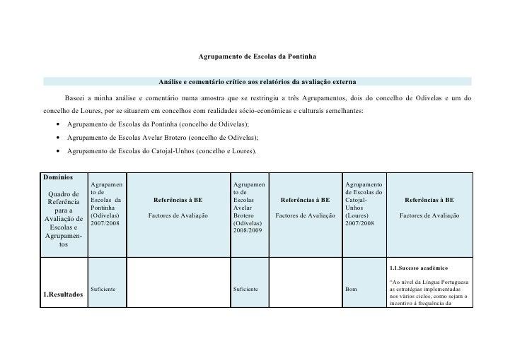 Agrupamento de Escolas da Pontinha                                        Análise e comentário crítico aos relatórios da a...