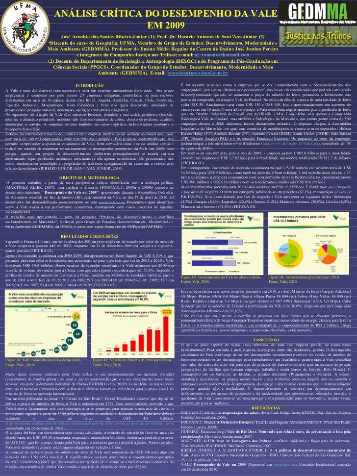ANÁLISE CRÍTICA DO DESEMPENHO DA VALE EM 2009 <ul><li>José Arnaldo dos Santos Ribeiro Junior (1); Prof. Dr. Horácio Antune...