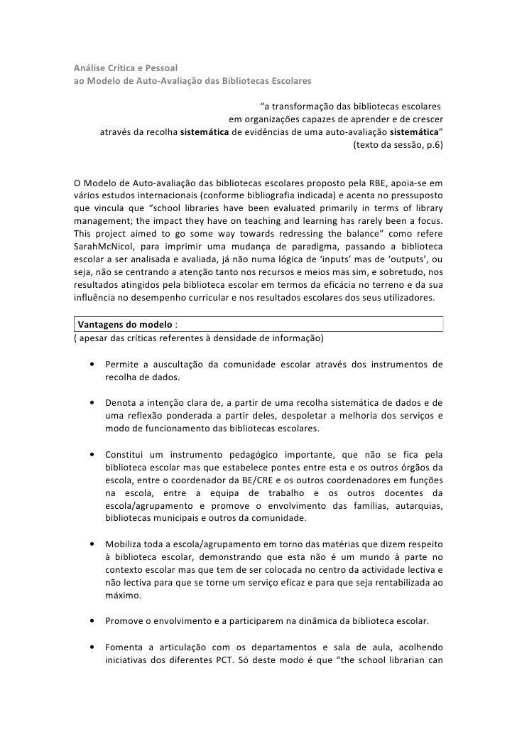 Análise Crítica e Pessoalao Modelo de Auto-Avaliação das Bibliotecas Escolares                                            ...