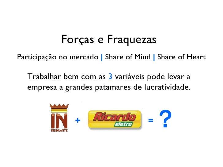 Forças e Fraquezas Participação no mercado     Share of Mind     Share of Heart Trabalhar bem com as  3  variáveis pode le...