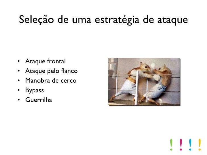 Seleção de uma estratégia de ataque <ul><li>Ataque frontal </li></ul><ul><li>Ataque pelo flanco </li></ul><ul><li>Manobra ...