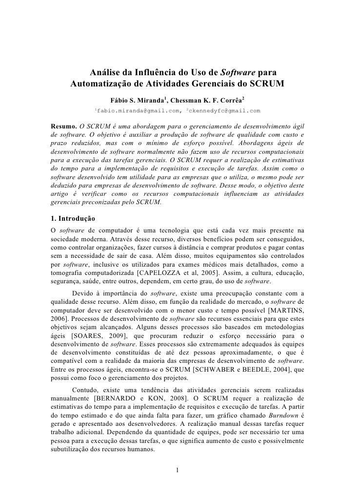 Análise da Influência do Uso de Software para      Automatização de Atividades Gerenciais do SCRUM                    Fábi...