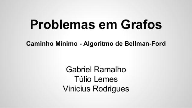 Problemas em Grafos Caminho Mínimo - Algoritmo de Bellman-Ford Gabriel Ramalho Túlio Lemes Vinicius Rodrigues