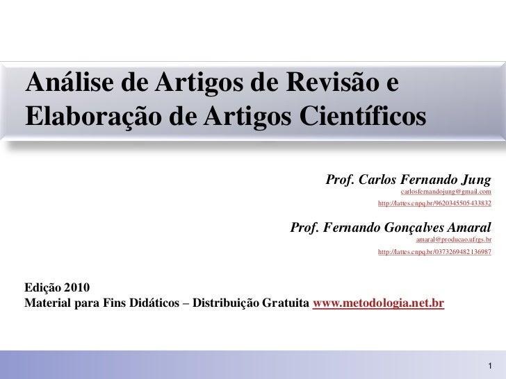 Análise de Artigos de Revisão e Elaboração de Artigos Científicos                                                       Pr...