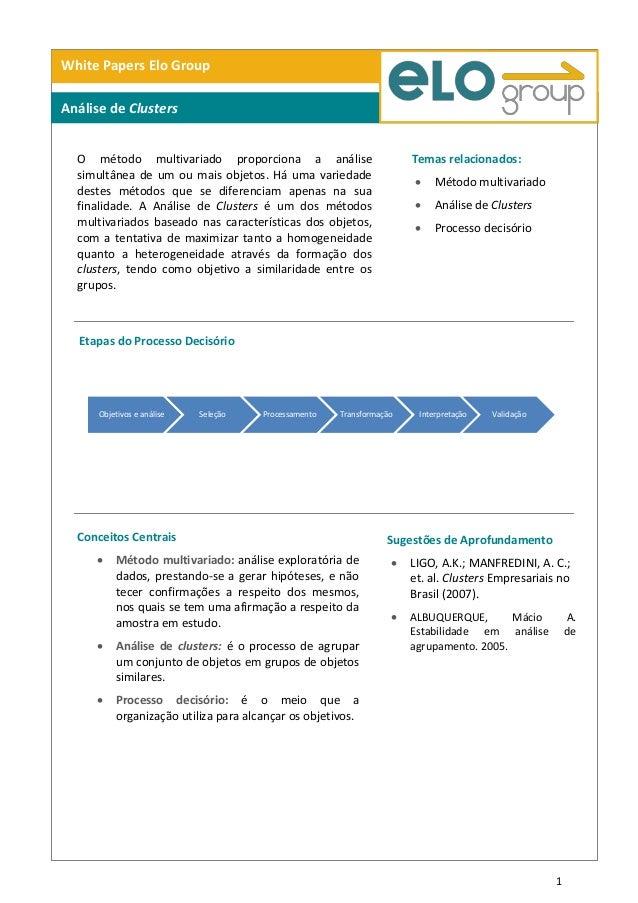 1Objetivos e análise Seleção Processamento Transformação Interpretação ValidaçãoWhite Papers Elo GroupAnálise de ClustersO...