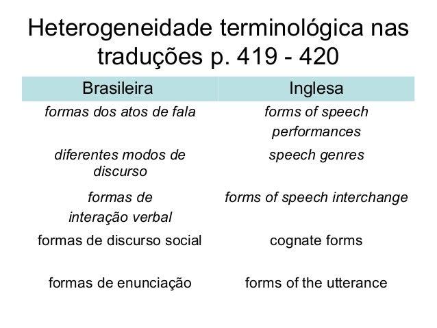 Heterogeneidade terminológica nastraduções p. 419 - 420Brasileira Inglesaformas dos atos de fala forms of speechperformanc...