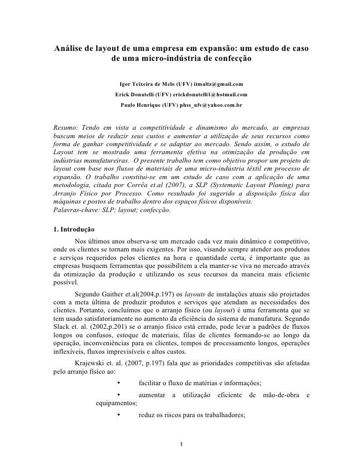 Análise de layout de uma empresa em expansão: um estudo de caso                de uma micro-indústria de confecção        ...