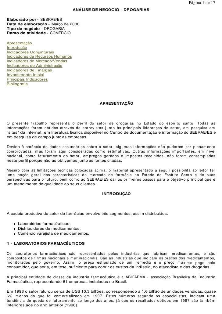 Página 1 de 17                                      ANÁLISE DE NEGÓCIO - DROGARIAS  Elaborado por - SEBRAE/ES Data de elab...