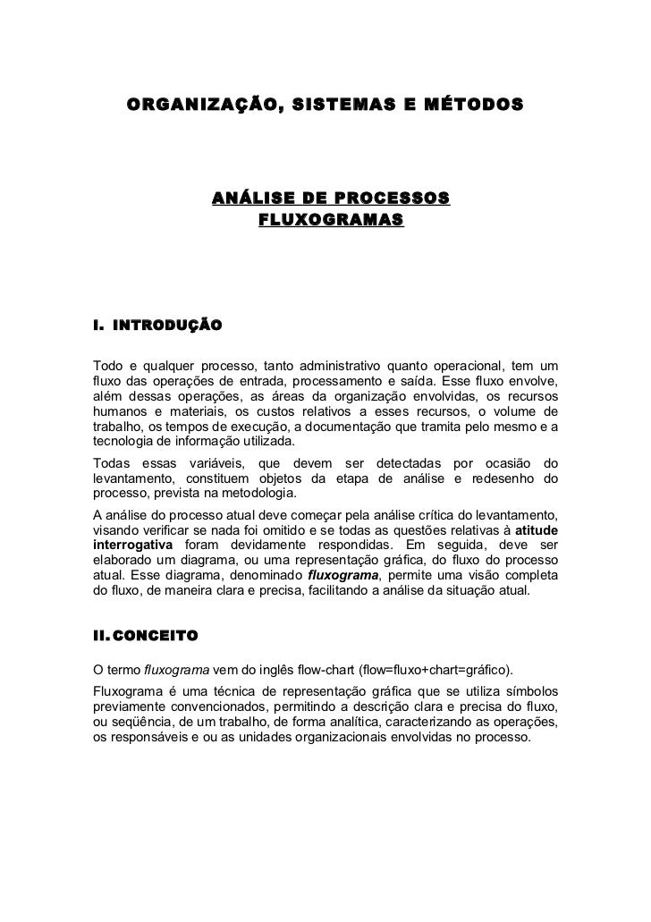 ORGANIZAÇÃO, SISTEMAS E MÉTODOS                    ANÁLISE DE PROCESSOS                        FLUXOGRAMASI. INTRODUÇÃOTod...
