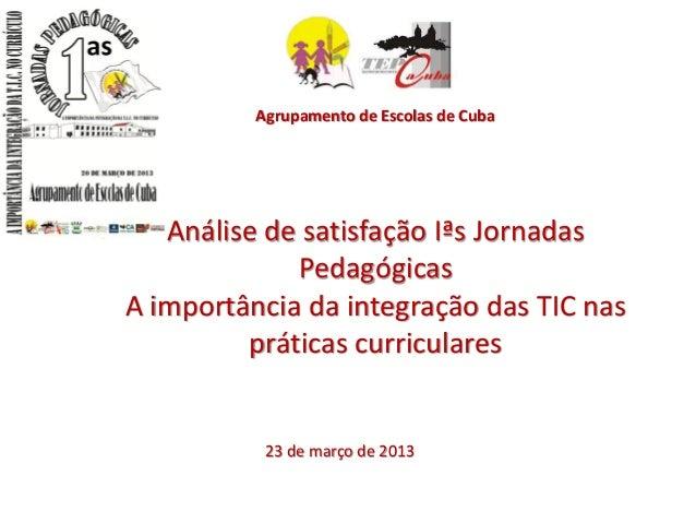 Agrupamento de Escolas de Cuba   Análise de satisfação Iªs Jornadas             PedagógicasA importância da integração das...