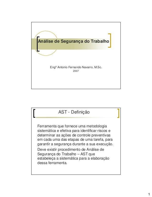 Análise de Segurança do Trabalho  Engº Antonio Fernando Navarro, M.Sc. 2007  AST - Definição Ferramenta que fornece uma me...