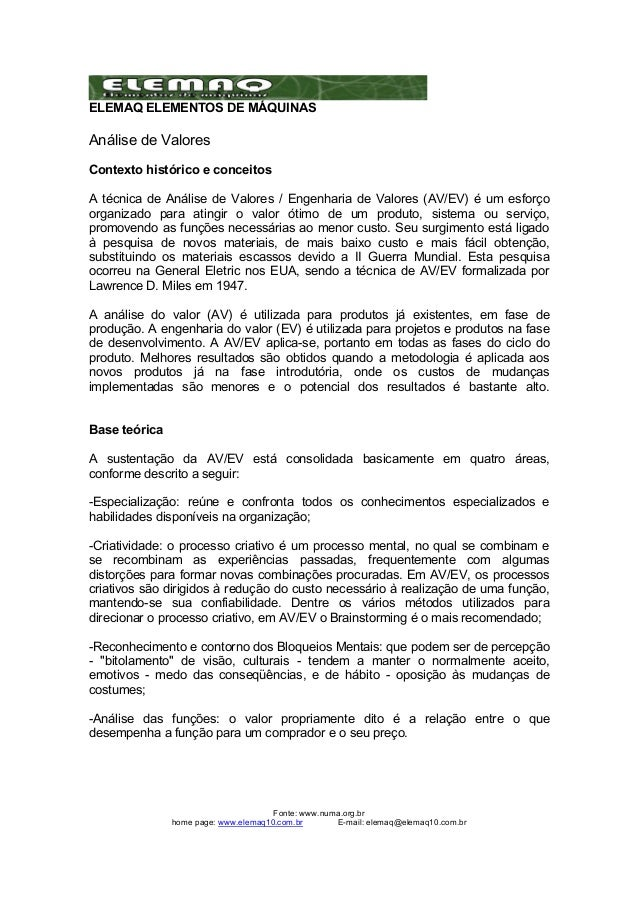 ELEMAQ ELEMENTOS DE MÁQUINAS  Análise de Valores  Contexto histórico e conceitos  A técnica de Análise de Valores / Engenh...