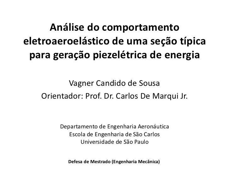 Análise do comportamentoeletroaeroelástico de uma seção típica para geração piezelétrica de energia          Vagner Candid...