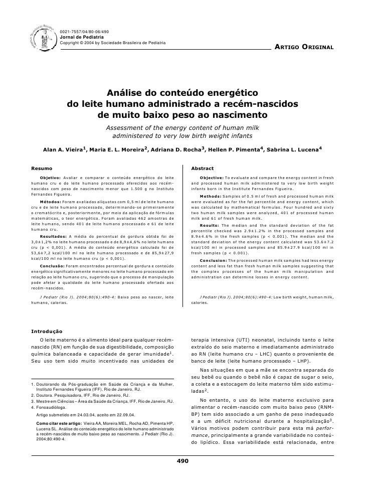 0021-7557/04/80-06/490               Jornal de Pediatria               Copyright © 2004 by Sociedade Brasileira de Pediatr...