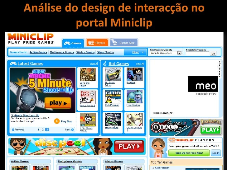 Análise do design de interacção no           portal Miniclip