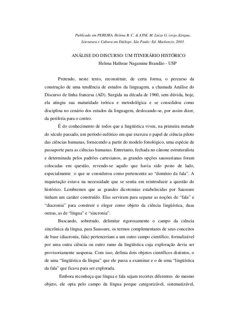 Publicado em PEREIRA, Helena B. C. & ATIK, M. Luiza G. (orgs.)Língua,                    Literatura e Cultura em Diálogo. ...