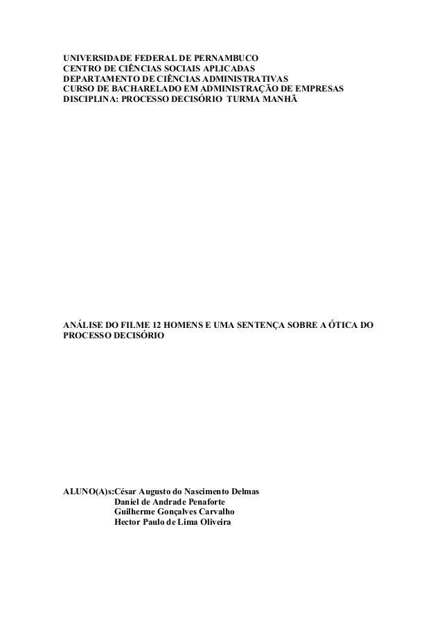 UNIVERSIDADE FEDERAL DE PERNAMBUCO CENTRO DE CIÊNCIAS SOCIAIS APLICADAS DEPARTAMENTO DE CIÊNCIAS ADMINISTRATIVAS CURSO DE ...