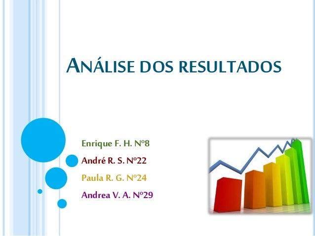 ANÁLISE DOS RESULTADOS Enrique F. H. Nº8 AndréR. S. Nº22 Paula R.G. Nº24 Andrea V.A. Nº29