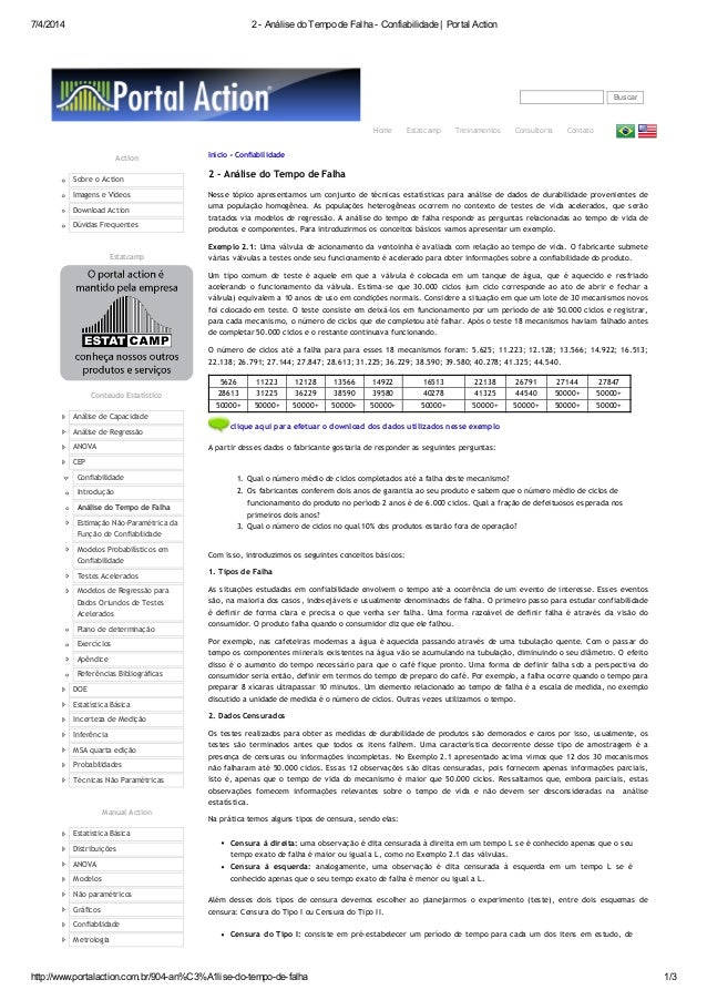 7/4/2014 2 - Análise do Tempo de Falha - Confiabilidade | Portal Action http://www.portalaction.com.br/904-an%C3%A1lise-do...