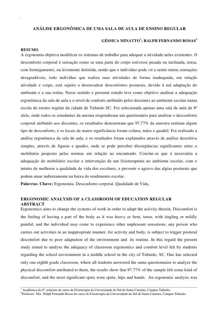 ANÁLISE ERGONÔMICA DE UMA SALA DE AULA DE ENSINO REGULAR                                                       GÉSSICA MIN...