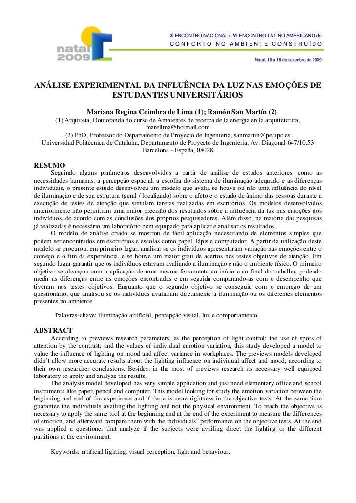 X ENCONTRO NACIONAL e VI ENCONTRO LATINO AMERICANO de                                                    CONFORTO NO AMBIE...