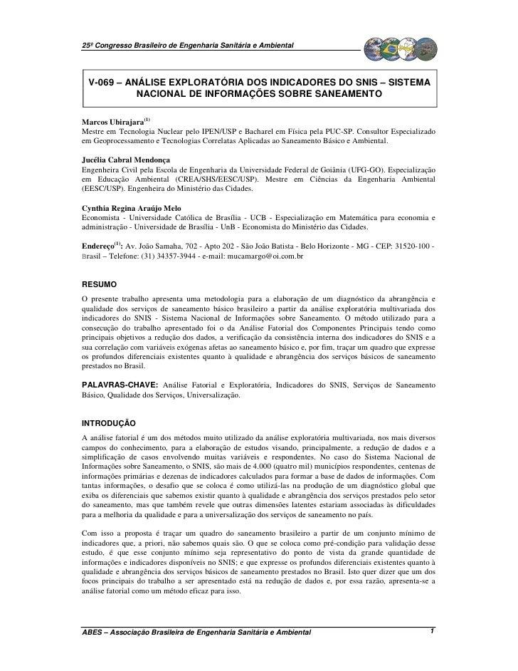 25º Congresso Brasileiro de Engenharia Sanitária e Ambiental  V-069 – ANÁLISE EXPLORATÓRIA DOS INDICADORES DO SNIS – SISTE...