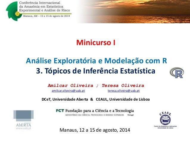 Minicurso I Análise Exploratória e Modelação com R 3. Tópicos de Inferência Estatística Amílcar Oliveira ; Teresa Oliveira...
