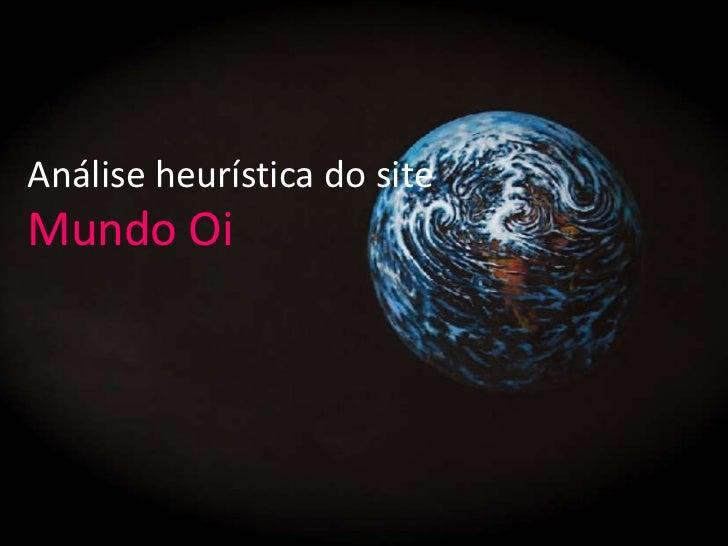 Análise heurística do siteMundo Oi