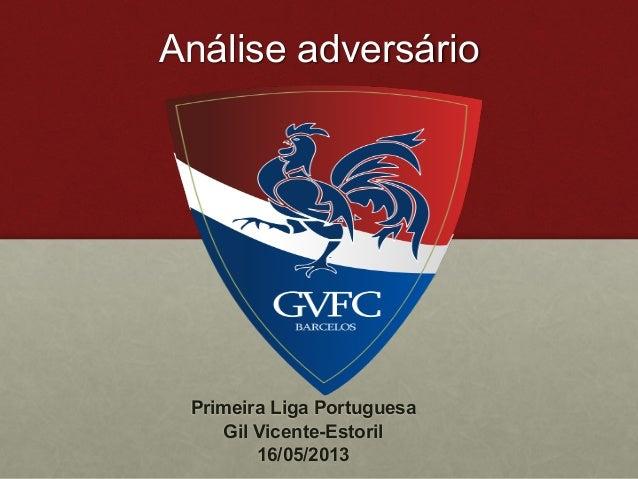 Análise adversário Gil Vicente  Primeira Liga Portuguesa Gil Vicente-Estoril 16/05/2013