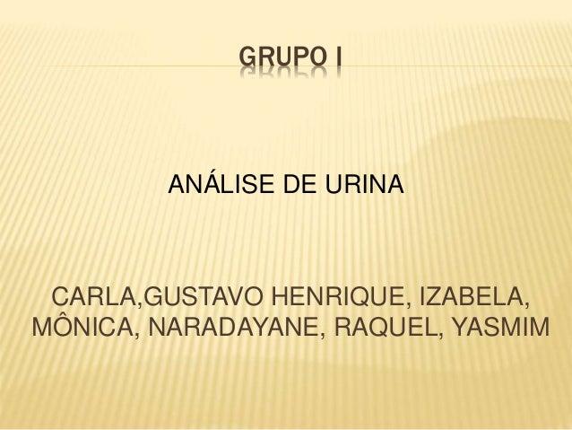 GRUPO I  ANÁLISE DE URINA  CARLA,GUSTAVO HENRIQUE, IZABELA,  MÔNICA, NARADAYANE, RAQUEL, YASMIM