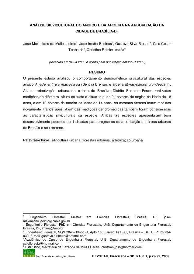 ANÁLISE SILVICULTURAL DO ANGICO E DA AROEIRA NA ARBORIZAÇÃO DA                                           CIDADE DE BRASÍLI...