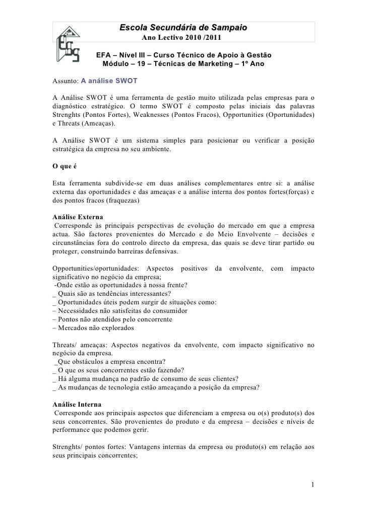 Escola Secundária de Sampaio                             Ano Lectivo 2010 /2011              EFA – Nível III – Curso Técni...