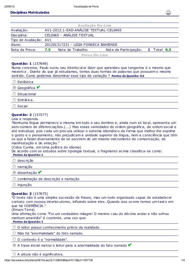 20/06/12  Visualização de Prova  Disciplinas Matriculadas  Avaliação: Disciplina: Tipo de Avaliação: Aluno: Nota da Prova:...