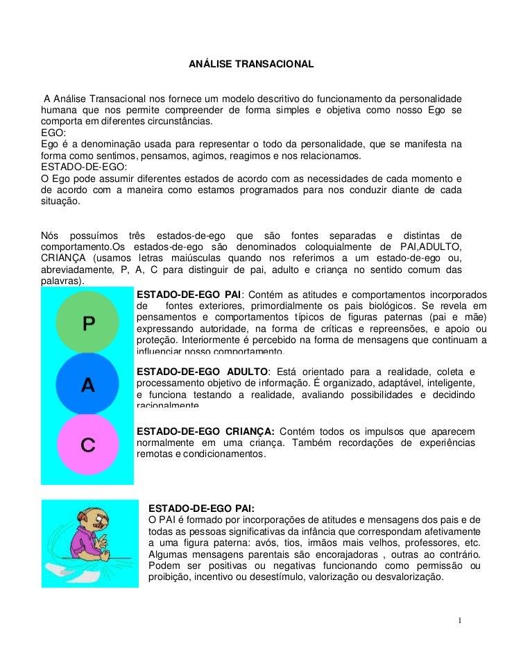 ANÁLISE TRANSACIONAL A Análise Transacional nos fornece um modelo descritivo do funcionamento da personalidadehumana que n...