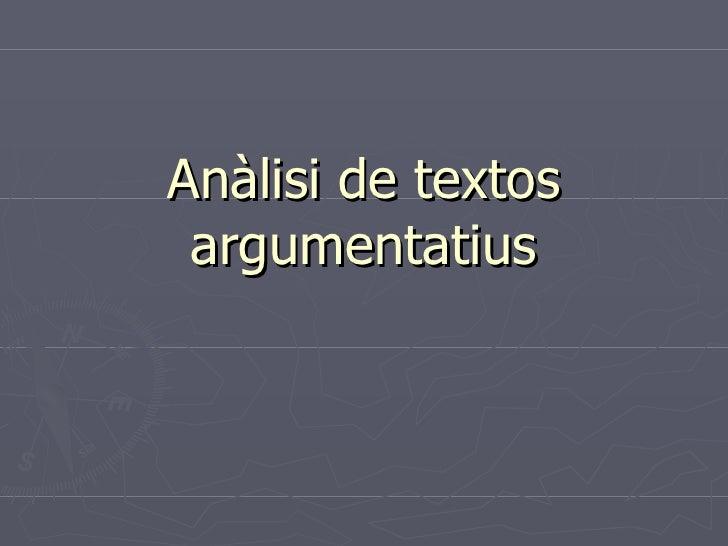 Anàlisi de textos argumentatius