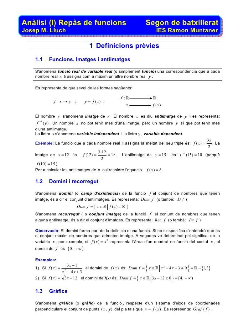 Anàlisi (I) Repàs de funcions                                               Segon de batxillerat Josep M. Lluch           ...