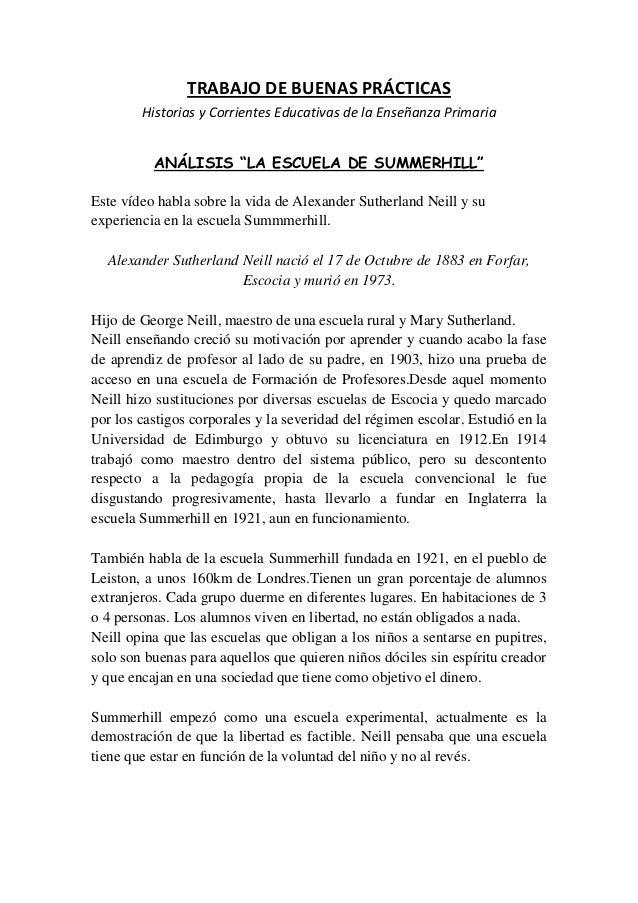 """TRABAJO DE BUENAS PRÁCTICAS        Historias y Corrientes Educativas de la Enseñanza Primaria          ANÁLISIS """"LA ESCUEL..."""
