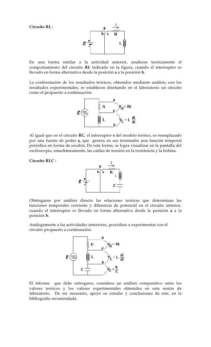 Circuito Rl : Análisis circuitos rc rl lc y rlc