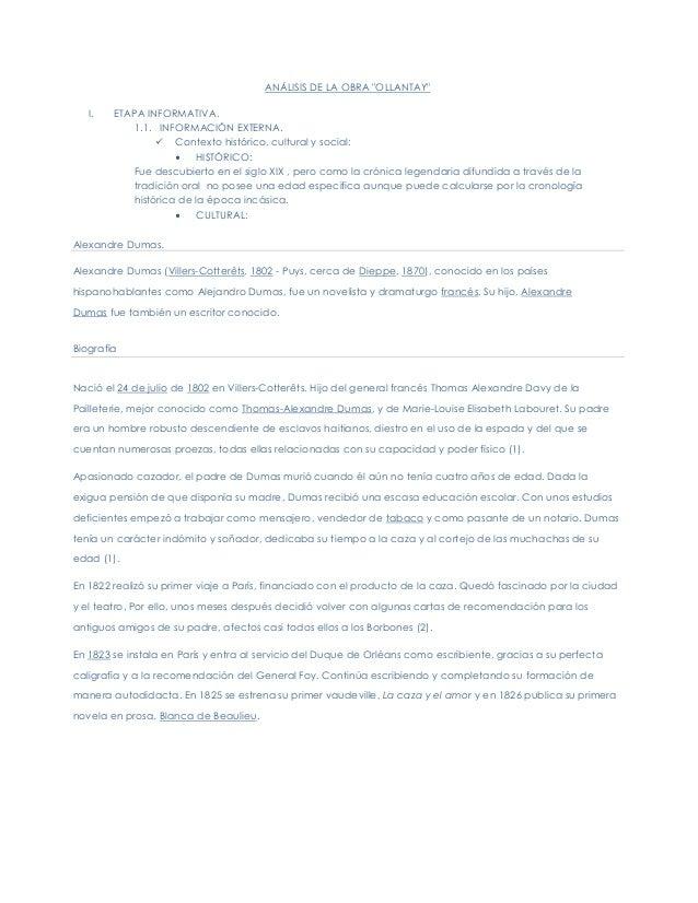 """ANÁLISIS DE LA OBRA """"OLLANTAY""""I. ETAPA INFORMATIVA.1.1. INFORMACIÓN EXTERNA. Contexto histórico, cultural y social:HISTÓR..."""