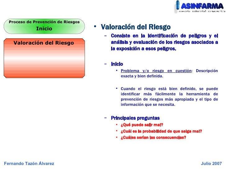 <ul><li>Valoración del Riesgo </li></ul><ul><ul><li>Consiste en la identificación de peligros y el análisis y evaluación d...