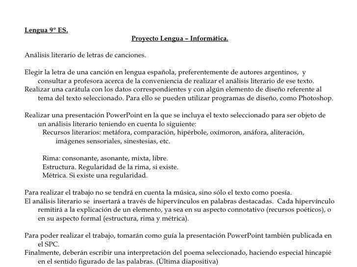 <ul><li>Lengua 9º ES. </li></ul><ul><li>Proyecto Lengua – Informática. </li></ul><ul><li>Análisis literario de letras de c...