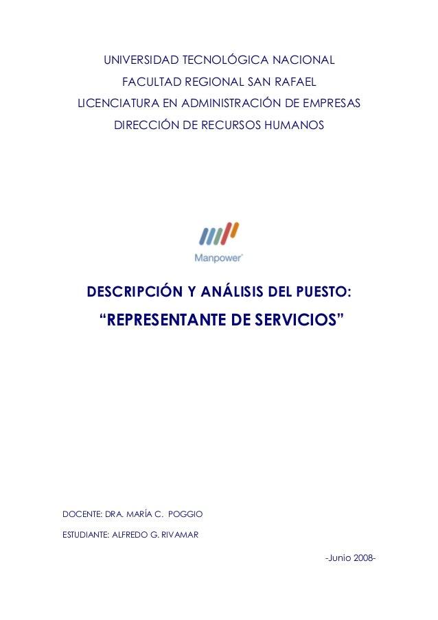 UNIVERSIDAD TECNOLÓGICA NACIONAL FACULTAD REGIONAL SAN RAFAEL LICENCIATURA EN ADMINISTRACIÓN DE EMPRESAS DIRECCIÓN DE RECU...